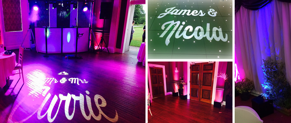Wedding Name Monogram and Wireless LED Uplighting Lancashire